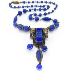 Vintage Art Deco Czech Neiger Lapis Glass Ornate Metal Panel Necklace | Clarice Jewellery | Vintage Jewellery | Vintage Costume Jewellery