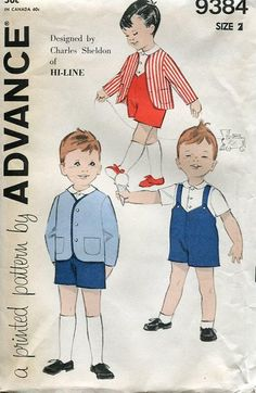 Vintage Retro 1950's 50's Sewing Pattern FREE US SHIP Advance 9384 Boy's Toddler Jacket  Shorts 2 Charles Sheldon Design Romper Suit Hi-Line by LanetzLivingPatterns on Etsy