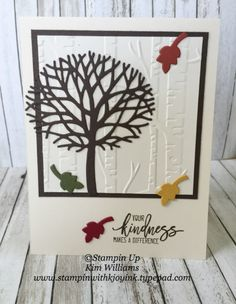 Stampin Up Thoughtful Branches stamp set. Kim Williams, stampinwithkjoyink.typepad.com. Pink Pineapple Paper Crafts. Wispy fall card, quick and easy card idea with the Beautiful Branches framlits. Woodlands emboss folder for the background.