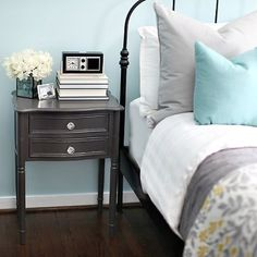 Yellow Blue And Grey Bedroom Gray Accents Mustard