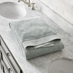 Egyptian Cotton Spa Blue Bath Sheet - Crate and Barrel