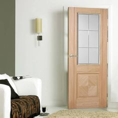 Valencia Oak Door with Lacquer Finishing and Frosted Safety Glass with Clear Bevel Edges - Lifestyle Image. Walnut Doors, Oak Doors, Front Doors, Safe Glass, Door Sets, Church Design, Internal Doors, Glass Door, Tall Cabinet Storage