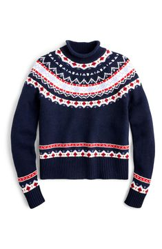 Shop J.Crew for the Fair Isle mock rollneck for Women. Find the best selection of Women Clothing available in-stores and online. Navy Sweaters, Cashmere Sweaters, Crew Clothing, Clothing Styles, Roll Neck Sweater, Autumn Winter Fashion, J Crew, Plus Size, My Style
