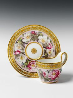 KPM (Berlin,Germany) — Cup and Saucer with rose decor on a pink ground, c.1810 (1300x1733)