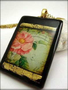 Flower Polymer Clay Necklace Wild Rose. $25.00, via Etsy.