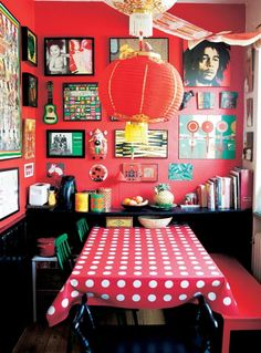 Red dining area with travel finds on display | live from IKEA FAMILY