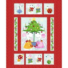Susybee's Norton Christmas Quilt Top cotton fabric by the panel The Night Before Christmas, 1st Christmas, Christmas Fabric Panels, Cute Mouse, Bead Kits, Buy Fabric, Cotton Fabric, Panel Quilts, Quilt Top
