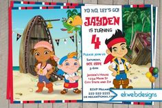 Jake  the Neverland Pirates Custom Birthday Invitation