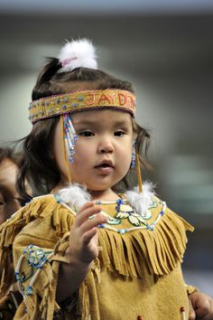 ✯ Athabasken Girl - A girl of the Athabaskan presented in a competition at the World Eskimo-Indian Olympics 2012, Fairbanks traditional clothing that was handmade by the family. :: By Heribert Wettels ✯