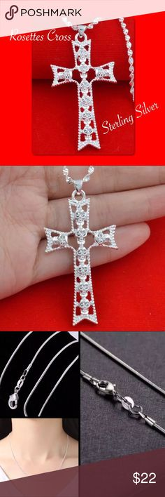 """Sterling Silver Filigree Cross w/Rosettes Necklace High Quality Filigree Cross Pendant. Has Rosettes' within the Cross. Great for the upcoming holidays for yourself or as a gift. Size of Pendant is Large. Comes w/a 20"""" Sterling Silver Snake Chain (not shown in cover photo~ see last picture) Jewelry Necklaces"""