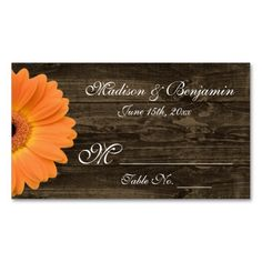 Rustic Wood Orange Gerber Daisy Wedding Place Card Business Cards. Make your own business card with this great design. All you need is to add your info to this template. Click the image to try it out!