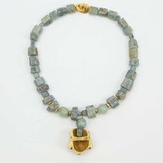 Aquamarine and Netsuke Necklace