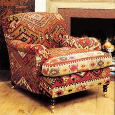 George Smith large chair, kilim
