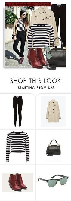 """Blogger style: Striped crop top &Trench coat&Black Denim Skinny Jeans&Short boots"" by hamaly ❤ liked on Polyvore featuring Zara, Dorothy Perkins, Foley + Corinna and Ray-Ban"