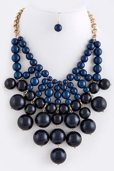 Chunky Two-tone Navy Blue Bubble Bib Statement Necklace Set #Unbranded
