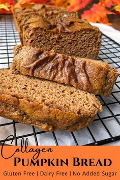 This homemade Collagen Pumpkin Bread is unsweetened, flour-less, low carb and high in protein. It has a light and airy texture, but is moist and holds up well in the fridge. The pumpkin flavor is subtle, so this bread pairs well with nearly anything. This healthy recipe is also gluten free, dairy free, Paleo, and Keto friendly. #paleo #keto #pumpkinspice Gluten Free Pumpkin Bread, Healthy Pumpkin Pies, Baked Pumpkin, Paleo Fall Recipes, Pumpkin Recipes, Keto Recipes, Sugar Free Muffins, Keto Friendly Bread, No Sugar Foods