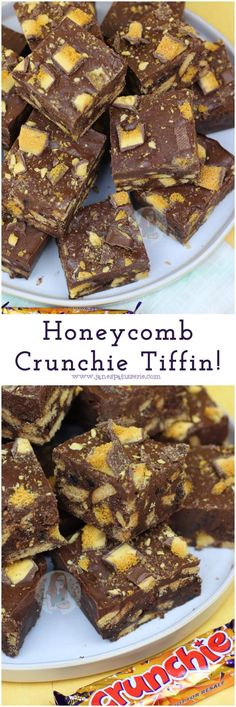 A No-Bake Chocolatey, Honeycomb Crunchie Tiffin that you'll want to make again and again! A No-Bake Chocolatey, Honeycomb Crunchie Tiffin that you'll want to make again and again! Tray Bake Recipes, Brownie Recipes, Baking Recipes, Cookie Recipes, Dessert Recipes, Baking Ideas, Bake Sale Recipes, Caramel Recipes, Honeycomb Recipe