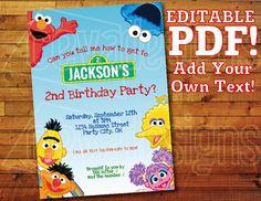 "Printable Sesame Street Invitation for Sesame Street Birthday / Sesame Street Party (5"" x 7"") Editable PDF Instant Digital Download Elmo"