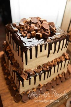: Looks delicious maybe use his favorite candy for the grooms cake   Reese's grooms cake #groomscakes