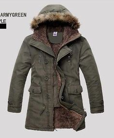 Mens New Hooded Fur Lining Long Coats Outerwear Warm Winter Jackets Parkas Sio36