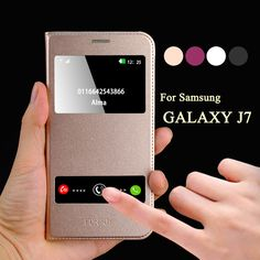 For samsung galaxy j7 2016 case J7 2016 J700F Cover Funda Case Leather Window Smart Calling For Galaxy j7 Mobile Phone Cover
