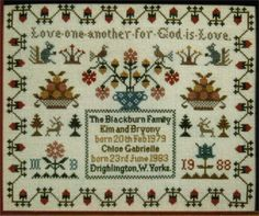 Love One Another Family Sampler Pedigree by FamilyTreeStitchery