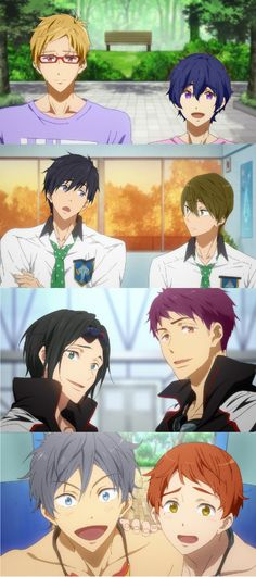 Hair Color Swap. OMG THEY ALL LOOK GREAT EXCEPT HARU I LOVE THE REI AND NAGISA ONE