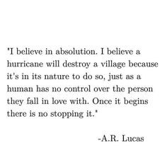 I believe in absolution..