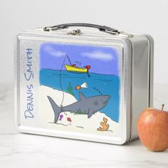 Funny fish and fishing cartoon lunch box - kitchen gifts diy ideas decor special unique individual customized