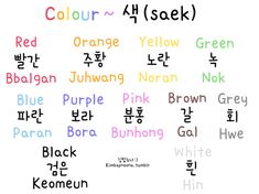 okay so just a couple of things :): 색/saek comes after each colour e.g