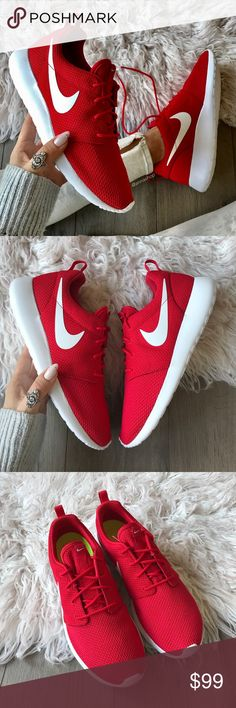 NWT Nike ID Roshe Red 💋 Brand new no box,price is firm!!custom made Nike ID. Everywhere you look, you can see ladies rocking a pair of women's Roshe Ones. They're one of the most versatile shoes from Nike. Wear them with or without socks, dress them up or down — the Roshe One can do it all. Its superior ventilation comes from the ultra-lightweight mesh textile or suede upper, offering you the breathability your feet need.  The full-length Phylon™ midsole provides all-day comfort and…