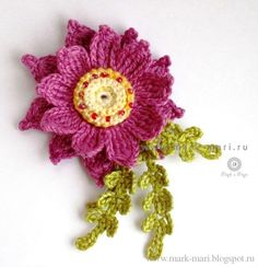 Crochet flower-Inspiration-no pattern here- but lots of charts for these flowers at mark-mari.blogspot.ru