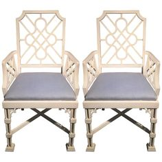 Pair of White Painted Chinese Chippendale Style Fretwork Armchairs | From a unique collection of antique and modern armchairs at https://www.1stdibs.com/furniture/seating/armchairs/
