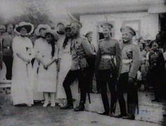 Empress Alexandra, Grand Duchesses Olga (hidden), Anastasia, Tatiana (hidden) and Marie with Tsar Nikolai II from a video clip in 1912