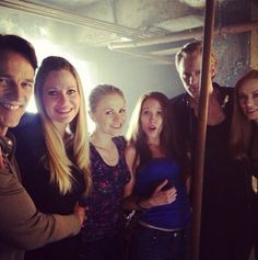 Great pic on the set of 7.08 in the dungeon of Fangtasia