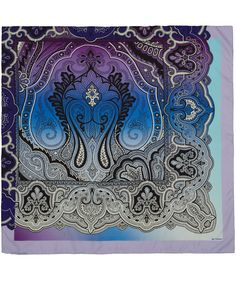 Purple + blue + paisley = fun. _____ Beautifully crafted from pure silk, Etro's degrade scarf is an unusual example of the Italian fashion house's iconic paisley prints. Available at Liberty.co.uk