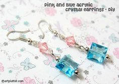 Pink  Blue Acrylic Bead Earrings DIY