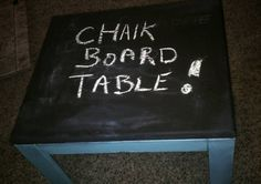 Check out this item in my Etsy shop https://www.etsy.com/listing/218060274/chalkboard-table-turquoise-upcycled-wood