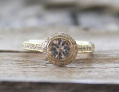 White Sapphire Diamond Halo Engagement Ring in 14K Yellow Gold