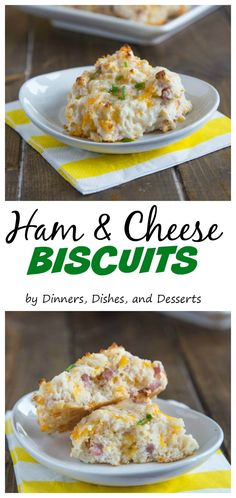 Ham & Cheese Biscuits – Fluffy drop biscuits full of cheddar cheese and diced ham.  A great side dish, or use of leftover ham.