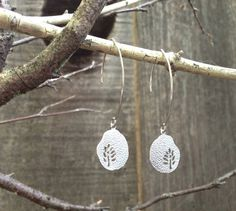 Modern Leaf Cutout Textured Charm Earrings by GoodLookingObjects, $23.00