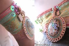 Coral Reef Bracelet Paua Shell Antique Silk от AllThingsPretty