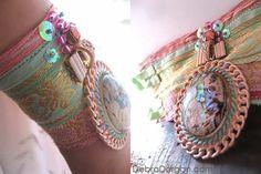 Coral Reef Bracelet Paua Shell Antique Silk by AllThingsPretty