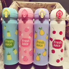 Fruit Type Thermos Cup Stainless Steel Water Bottle Vacuum Flasks Tea Coffee Mug Thermos Water Bottle, Cute Water Bottles, Stainless Steel Cups, Stainless Steel Water Bottle, Food Storage Boxes, Cute Cups, Vacuum Flask, Kawaii, Bottle Design