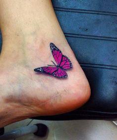 Cor-De-Rosa Borboleta No Tornozelo Tatuagem