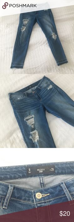 Hollister Crop Beach Crochet Distressed Jeans Hollister crop jeans in a size 9. Fabric provides stretch. Will also fit a size US 8. Will bundle and reduce shipping costs if you purchase more items from my shop. Hollister Jeans Ankle & Cropped