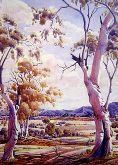 Albert Namatjira, Landscape with Gums, watercolour on paper, signed lower right, 36 x 26 cm Watercolor Landscape, Landscape Art, Landscape Paintings, Watercolor Art, Landscape Photos, Aboriginal History, Aboriginal Artists, Indigenous Australian Art, Australian Artists
