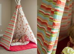 """My engineer hubby and I figured out a simple way to make a teepee. It was  crunch time on my daughters """"birthday eve"""" so I decided to make a no sew  teepee."""