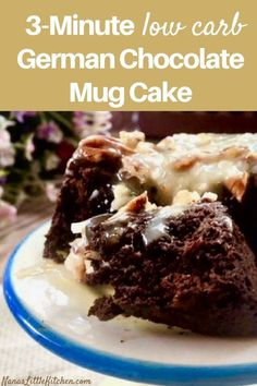 This low carb 3 Minute German Chocolate Mug Cake THM S has it all! A quick cocon… This low carb 3 Minute German Chocolate Mug Cake THM S has it all! A quick coconut pecan frosting over a chocolate cake and…Sugar-Free Portion Control! Chocolate Mug Cakes, Low Carb Chocolate, German Chocolate, Chocolate Recipes, Sugar Free Chocolate Cake, Coconut Chocolate, Mug Recipes, Healthy Recipes, Low Carb Recipes