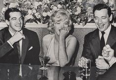 Marilyn Monroe, Yves Montand and Frankie Vaughan at a press conference for Let's Make Love, January 16, 1960.